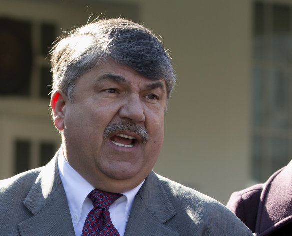 FILE - This Nov. 13, 2012 file photo shows AFL-CIO President Richard Trumka speaking to reporters outside the White House in Washington. The nation&#39;s labor unions suffered sharp declines in membership last year, the Bureau of Labor Statistics said Wednesday, led by losses in the public sector as cash-strapped state and local governments laid off workers and _ in some cases _ limited collective bargaining rights. (AP Photo/Carolyn Kaster, File)