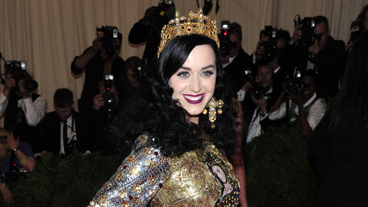 "Katy Perry attends The Metropolitan Museum of Art's Costume Institute benefit celebrating ""PUNK: Chaos to Couture"" on Monday May 6, 2013 in New York. (Photo by Charles Sykes/Invision/AP)"