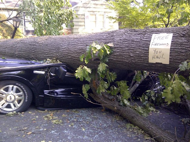 A tree sitting atop a vehicle offers free firewood in Falls Church, Va., Monday, July, 2, 2012, as cleanup continued after Friday's storm, Around 2 million utility customers are without electricity across a swath of states along the East Coast and as far west as Illinois as the area recovers from a round of summer storms that has also caused at least 17 deaths. (AP Photo/Matthew Barakat)