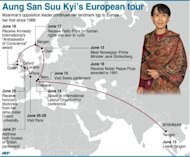&lt;p&gt;Aung San Suu Kyi&#39;s European tour itinerary. Nobel laureate Suu Kyi, who has herself received superstar treatment on a triumphant Europe tour after years of house arrest and isolation, will be joined by the Irish singer Bono and 100 other guests at the annual Oslo Forum talks.&lt;/p&gt;