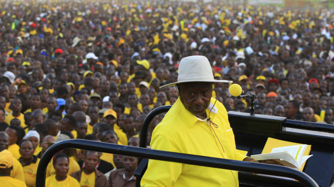Uganda's President and the presidential candidate Museveni speaks during a campaign rally in Entebbe