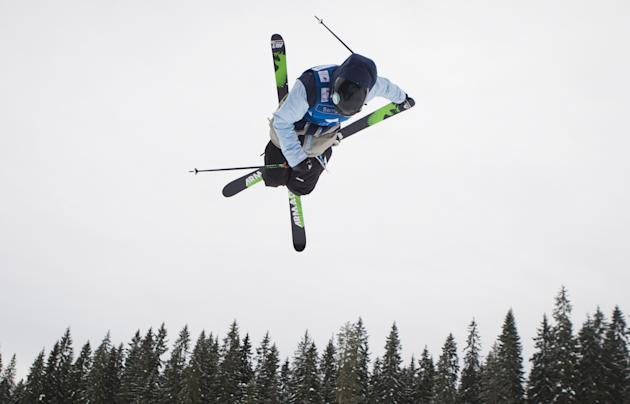 Switzerland's Cyrill Hunziker competes during the men's final at the Angry Birds Slopestyle FIS Freestyle Ski World Cup in Jyvaskyla, central Finland, on February 25, 2012. Hunziker won the competitio