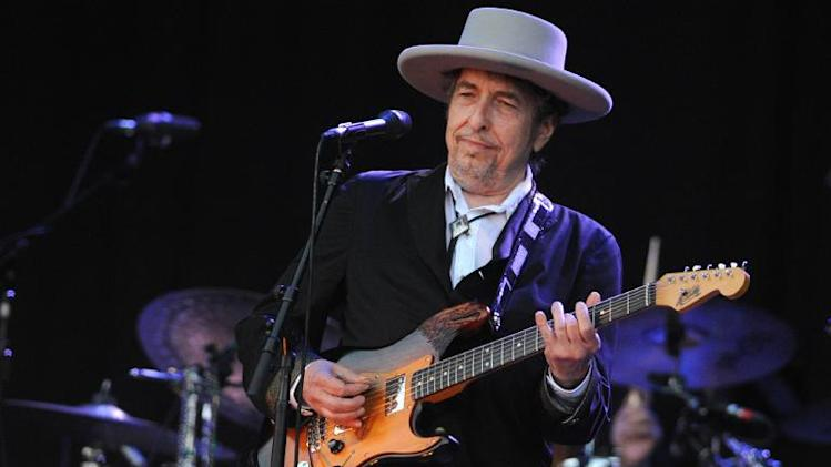 US legend Bob Dylan performs on stage during the 21st edition of the Vieilles Charrues music festival on July 22, 2012 in Carhaix-Plouguer, western France