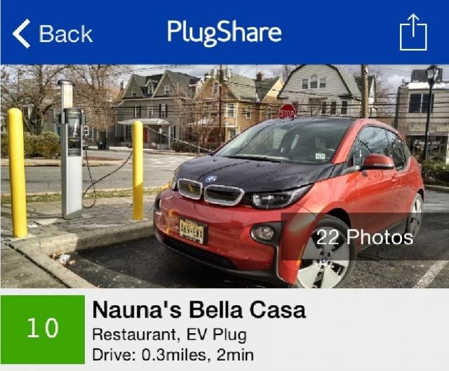 PlugShare App Showing Electric-Car Charging Sites: Trip Planner Update