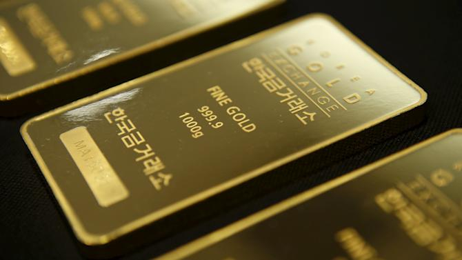 One kilogram gold bars are seen at the Korea Gold Exchange in Seoul
