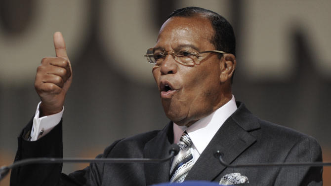 Minister Louis Farrakhan speaks during the Saviours' Day annual convention at the U.I.C. Pavilion in Chicago, Sunday, Feb. 24, 2013. (AP Photo/Paul Beaty)