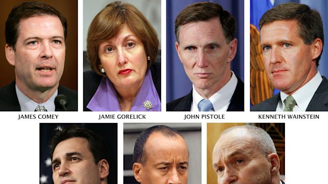 FILE - This combination image of Associated Press file photos shows possible successors to FBI Director Robert Mueller, whose 10-year nonrenewable term expires Sept. 4, 2011. They are James Comey and Kenneth Wainstein, both former Bush administration law enforcement officers who served in sensitive national security-related posts; Jamie Gorelick, former Clinton administration deputy attorney general; John Pistole, TSA administrator and former deputy FBI director; Michael Garcia, a former U.S. Attorney for the Southern District of New York; Michael Mason, former head of the FBI's Washington field office and executive assistant director for the bureau's criminal investigative division; Ray Kelly, New York Police Department Commissioner. (AP Photo/Files)