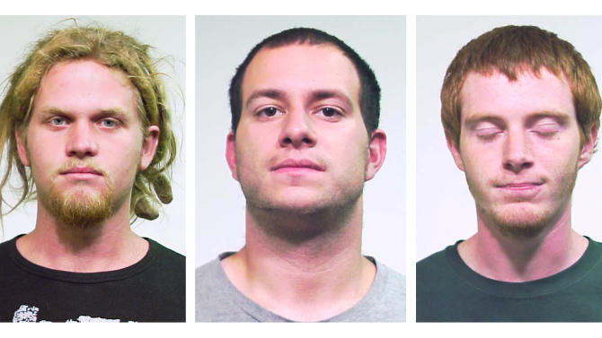 FILE - This combo made from undated file photos provided by the Chicago Police Department shows from left, Brent Vincent Betterly, 24, of Oakland Park, Fla., Jared Chase, 24, of Keene, N.H., and Brian Church, 20, of Ft. Lauderdale, Fla. The three NATO summit activists will appear in a Chicago courtroom Tuesday, June 12, 2012, to face terrorism-related charges that accuse them of plotting to attack President Barack Obama's campaign headquarters and other targets with Molotov cocktails. (AP Photo/Chicago Police Department, File)