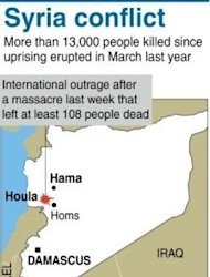 Graphic on the latest death toll in Syria. The Syrian has seen more than 13,000 people killed since an anti-regime revolt erupted in march last year according to monitors