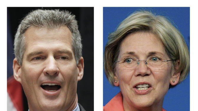FILE - These 2012 file photos show incumbent Sen. Scott Brown, R-Mass., left, and Democratic challenger Elizabeth Warren, in Boston. Short on time and tempers, House and Senate candidates in tight races are turning snarky and personal in their attacks on their opponents. The stakes, and the unpleasantness, are highest in the race for control of the Senate, where Republicans need to gain four seats to win the majority _ only three if Republican Paul Ryan becomes vice president and, in his role as Senate president, breaks any tie votes. In Massachusetts, GOP Sen. Scott Brown witheringly mocks Democrat Elizabeth Warren's claims of Native American heritage.(AP File Photos)