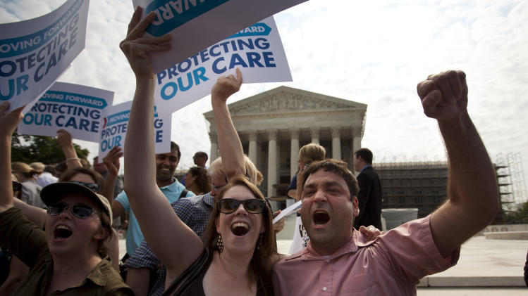 Audible exhalation as health care ruling is read