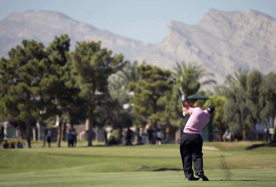 Brendon de Jonge hits a shot off the seventh fairway during the final round of the Justin Timberlake Shriners Hospitals for Children Open golf tournament on Sunday, Oct. 7, 2012, in Las Vegas. (AP Photo/Julie Jacobson)
