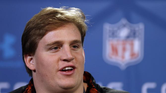 Alabama offensive lineman Barrett Jones answers a question during a news conference at the NFL football scouting combine in Indianapolis, Thursday, Feb. 21, 2013. (AP Photo/Michael Conroy)
