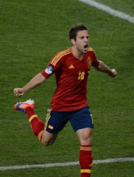 Spanish defender Jordi Alba celebrates after scoring a goal during the Euro 2012 football championships final match Spain vs Italy on July 1, 2012 at the Olympic Stadium in Kiev. AFP PHOTO / JEFF PACHOUD