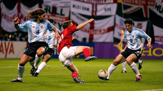 England's Michael Owen is fouled by Argentina's Mauricio Pochettino which resulted in a penalty kick and England's winning goal in their 2002 World Cup match