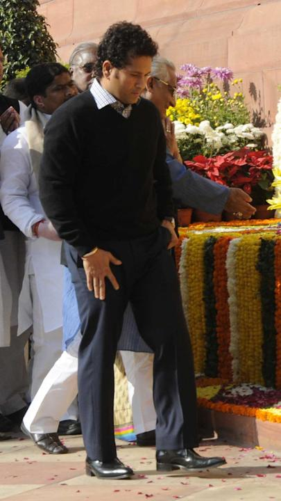 Cricket legend and Rajya Sabha member Sachin Tendulkar pays homage to the martyrs who laid their lives during attacks on Parliament on 13th Dec 2001 on the 12th anniversary of the attacks at Parliamen