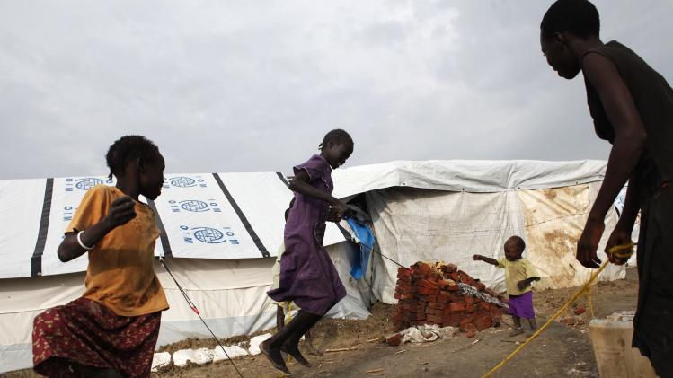 Girls play in an IDP camp inside the U.N. base in Malakal