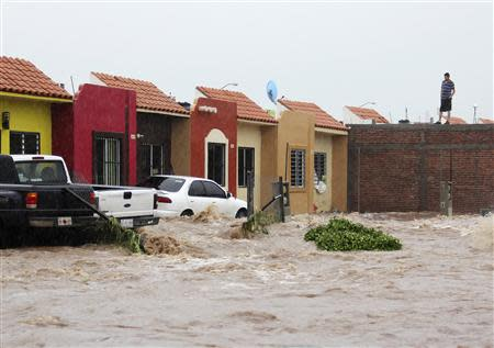 A man stands on a roof as floodwaters engulf houses and parked cars at a neighbourhood in Culiacan