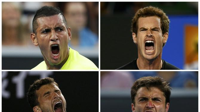 A combination photo shows Nick Kyrgios of Australia, Andy Murray of Britain, Gilles Simon of France, and Grigor Dimitrov of Bulgaria reacting during their matches at the Australian Open 2015 tennis tournament in Melbourne