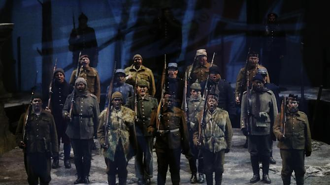 In this  Wednesday, Feb. 6, 2013, photo, singers perform during a dress rehearsal of the opera Silent Night at the Academy of Music, in Philadelphia. (AP Photo/Matt Rourke)
