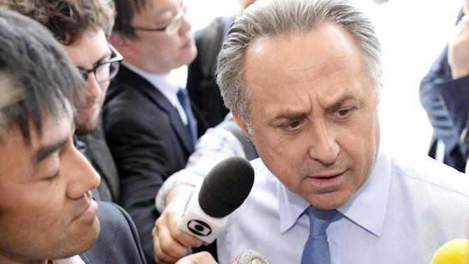 Vitaly Mutko, Russia's minister for sports arrives for a meeting of the European Soccer federation UEFA at a hotel in Glattpark-Zurich, ahead of the FIFA congress, in Zurich, Switzerland, Thursday, May 28, 2015. The FIFA congress with the president's election is scheduled Friday, May 29, 2015 in Zurich. (Walter Bieri/Keystone via AP)
