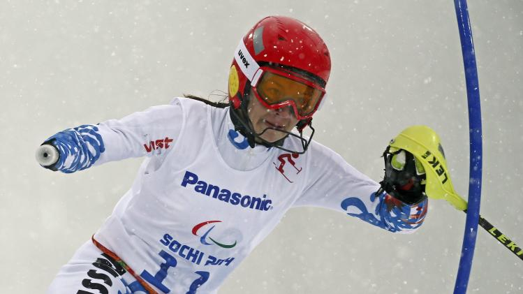 Russia's Papulova skis in first leg of women's standing slalom event at 2014 Sochi Paralympic Winter Games in Rosa Khutor