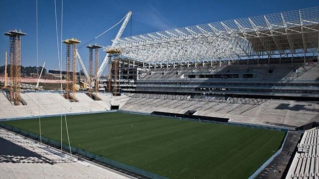 New Corinthians Stadium after crane collapsed during construction (PA)