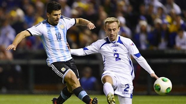Argentina forward Sergio Aguero and Bosnia and Herzegovina defender Avdija Vrsajevic (Reuters)