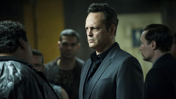 "This photo provided by HBO shows Vince Vaughn in a scene from season 2 of ""True Detective."" (Lacey Terrell/HBO via AP)"