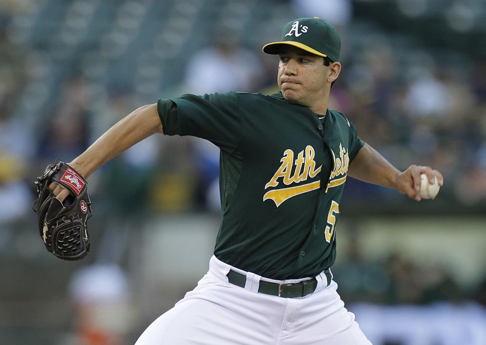 Oakland Athletics pitcher Tommy Milone works against the New York Yankees in the first inning of a baseball game Friday, July 20, 2012, in Oakland, Calif. (AP Photo/Ben Margot)