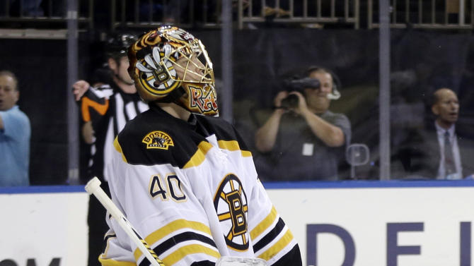 Boston Bruins goalie Tuukka Rask, of Finland, reacts after New York Rangers' Taylor Pyatt scores during the second period in Game 3 of the Eastern Conference semifinals in the NHL hockey Stanley Cup playoffs in New York Tuesday, May 21, 2013, in New York. (AP Photo/Seth Wenig)