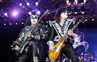 "Gene Simmons (L) and Tommy Thayer of the US hard-rock band Kiss perform in Germany in 2010. Musicians in today's rock bands look like ""garbage collectors"" and the only true new star is Lady Gaga, members of the legendary heavy metal group said in a chat with AFP"