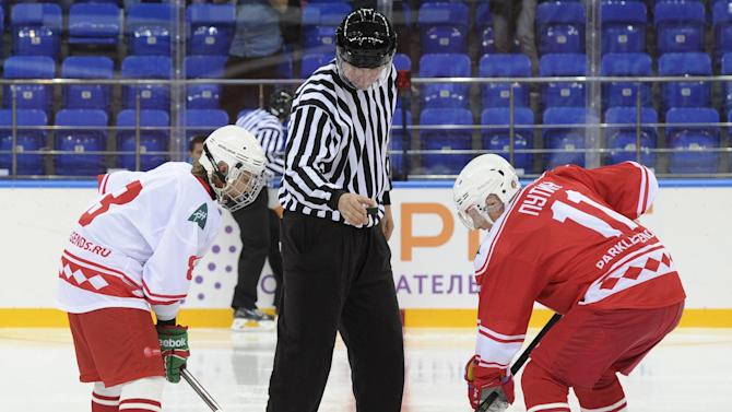 Russian President Putin takes part in match between former Russian ice hockey stars and students of Sirius educational centre for gifted children in Sochi