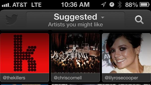 This image taken from an iPhone shows the new Twitter music app. Twitter announced Thursday April 18, 2013, a new app that uses tweets and other Twitter activity to detect the most popular tracks and emerging artists. Twitter #music allows people to go to artists' profiles to see which music they follow, listen to songs by those artists and tweet songs right from the app.(AP Photo/Twitter)