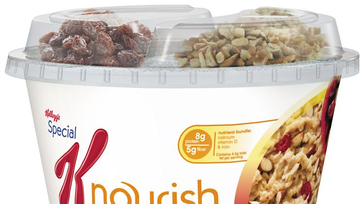 """This undated image provided by Kellogg's shows a photo of Special K Nourish that is slated to hit stores in July 2013. Kellogg Co. is building on its biggest moneymaker even further with the """"hot cereal"""" that's made with quinoa and other grains.  (AP Photo/Kellogg's)"""
