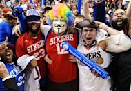 Philadelphia 76ers fans cheer after a 79-78 win over the Chicago Bulls in Game Six of the Eastern Conference Quarterfinals in the 2012 NBA Playoffs at the Wells Fargo Center, on May 10, in Philadelphia, Pennsylvania. The 76ers ousted the top-seeded Bulls from the first round of the playoffs and booked a Round Two clash with the Boston Celtics
