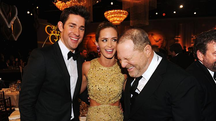 70th Annual Golden Globe Awards - Cocktail Party: John Krasinski, Emily Blunt and Harvey Weinstein