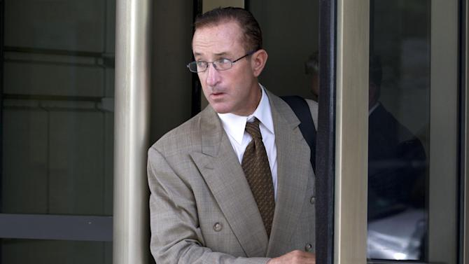 Former Major League baseball pitcher Roger Clemens' former trainer Brian McNamee leaves federal court in Washington, Wednesday, May 16, 2012, after testifying in Clemens perjury trial. (AP Photo/Jacquelyn Martin)