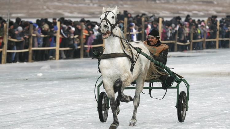 A trotter competes in a harness race on the frozen Yenisei River during the 44th Ice Derby amateur horse race near the settlement of Novosyolovo