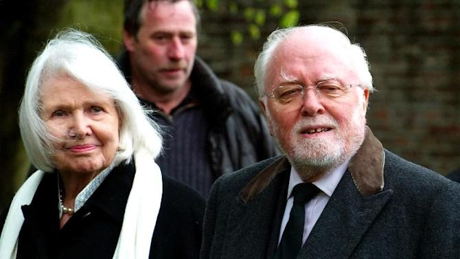 This April 27, 2005 file photo shows Sir Richard Attenborough and his wife Sheila Sim as they arrive to attend the funeral of Sir John Mills in the church of St. Mary The Virgin in Denham