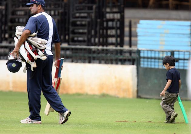 Indian cricketer Rahul Dravid walks with