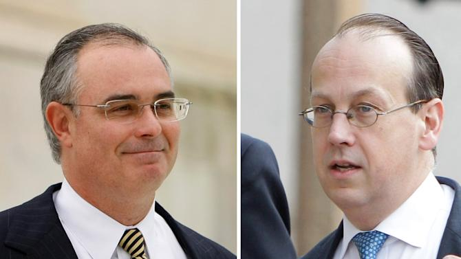 FILE - This combo image shows NFL Players' lawyer David Frederick, left, in a November 2008 file photo, and NFL lawyer Paul Clement in a June 2011 file photo. With perhaps billions of dollars stake, a hearing Tuesday, April 8, 2013 over concussion litigation filed against the NFL promises to be a brawl between the legal heavyweights. (AP Photo/File)