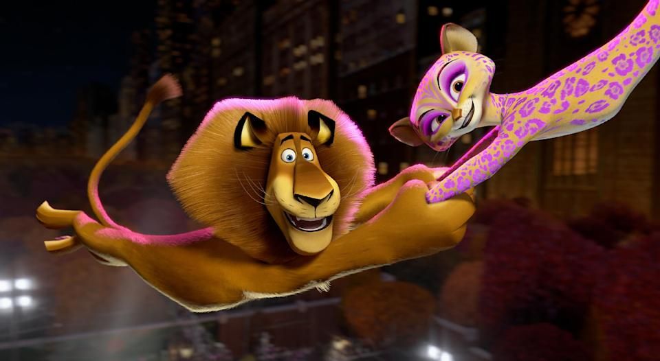 "This film image released by DreamWorks Animation shows, Alex the Lion, voiced by Ben Stiller, left, and Gia the Jaguar, voiced by Jessica Chastain, in a scene from ""Madagascar 3: Europe's Most Wanted."" (AP Photo/DreamWorks Animation - Paramount Pictures)"