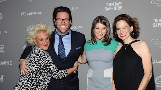 IMAGE DISTRIBUTED FOR FOOD & WINE - FOOD & WINE's Gail Simmons, second right, and editor in chief Dana Cowin, right, pose with celebrity chefs Anne Burrell, left, and Scott Conant at the 2013 FOOD & WINE Best New Chefs 25th anniversary celebration at Pranna on Tuesday, April 2, 2013 in New York City, New York.  (Photo by Diane Bondareff/Invision for FOOD & WINE/AP Images)