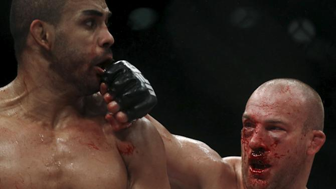 Cavalcante of Brazil fights with Cummins of U.S during their UFC match in Rio de Janeiro
