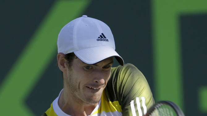 Andy Murray, of Britain, returns to Marin Cilic, of Croatia, during the quarterfinals of the Sony Open tennis tournament in Key Biscayne, Fla., Thursday, March 28, 2013. Murray won 6-4, 6-3. (AP Photo/Alan Diaz)