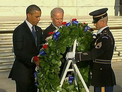 Raw: Obama, Biden Lay Wreath at Arlington