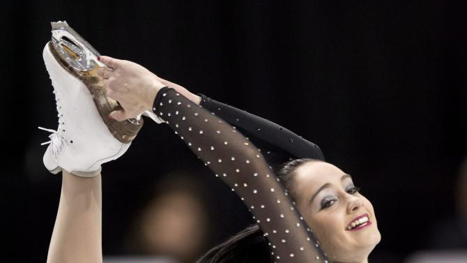 Canada's Kaetlyn Osmond performs during the ladies short program at the World Figure Skating Championships Thursday, March 14, 2013, in London, Ontario. (AP Photo/The Canadian Press, Paul Chiasson)