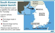 Graphic showing South Korea's Naro Space Center, site for a rocket launch scheduled for Thursday
