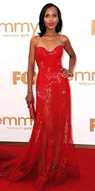 Kerry Washington in the night's hottest hue, goes for a bombshell look in red Zuhair Murad.
